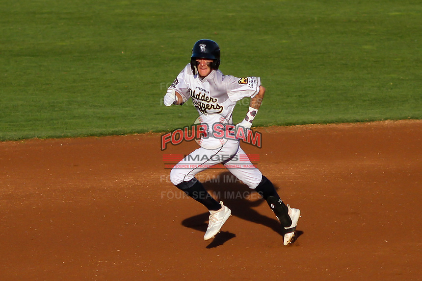 Wisconsin Timber Rattlers Brice Turang (2) rounds second base during a Midwest League game against the Clinton LumberKings on June 20, 2019 at Fox Cities Stadium in Appleton, Wisconsin. Wisconsin defeated Clinton 5-2. (Brad Krause/Four Seam Images)