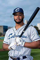 Columbus Clippers first baseman Bobby Bradley (44) poses for a photo before an International League game against the Indianapolis Indians at Victory Field on April 29, 2019 in Indianapolis, Indiana. (Zachary Lucy/Four Seam Images)