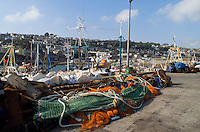 Lobster and crab fishing boats moored in Newlyn harbour Cornwall In the background can be seen deep sea trawlers..©shoutpictures.com..john@shoutpictures.com
