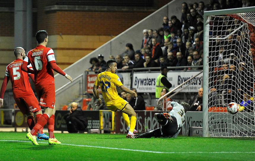Preston North End's Callum Robinson scores his sides first goal  at Orient<br /> <br /> Photographer Ashley Western/CameraSport<br /> <br /> Football - The Football League Sky Bet League One - Leyton Orient v Preston North End - Tuesday 28th October 2014 - Matchroom Stadium - London<br /> <br /> &copy; CameraSport - 43 Linden Ave. Countesthorpe. Leicester. England. LE8 5PG - Tel: +44 (0) 116 277 4147 - admin@camerasport.com - www.camerasport.com