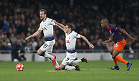 Tottenham Hotspur's Harry Winks is taken down by Manchester City's Fernandinho and Harry Kane takes over<br /> <br /> Photographer Rob Newell/CameraSport<br /> <br /> UEFA Champions League Quarter-finals 1st Leg - Tottenham Hotspur v Manchester City - Tuesday 9th April 2019 - White Hart Lane - London<br />  <br /> World Copyright © 2018 CameraSport. All rights reserved. 43 Linden Ave. Countesthorpe. Leicester. England. LE8 5PG - Tel: +44 (0) 116 277 4147 - admin@camerasport.com - www.camerasport.com