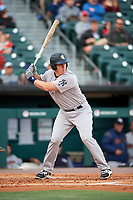 Scranton/Wilkes-Barre RailRiders catcher Erik Kratz (36) at bat during a game against the Buffalo Bisons on May 18, 2018 at Coca-Cola Field in Buffalo, New York.  Buffalo defeated Scranton 5-1.  (Mike Janes/Four Seam Images)