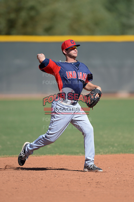 Cleveland Indians second baseman Paul Hendrix (20) during an Instructional League game against the Texas Rangers on October 4, 2013 at Surprise Stadium Training Complex in Surprise, Arizona.  (Mike Janes/Four Seam Images)