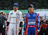 May 28, 2017; Indianapolis, IN, USA; IndyCar Series driver Fernando Alonso (left) and Takuma Sato prior to the 101st Running of the Indianapolis 500 at Indianapolis Motor Speedway. Mandatory Credit: Mark J. Rebilas-USA TODAY Sports