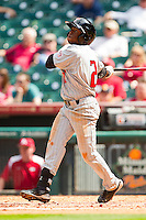 Jamodrick McGruder #2 of the Texas Tech Red Raiders follows through on his swing against the Arkansas Razorbacks at Minute Maid Park on March 2, 2012 in Houston, Texas.  The Razorbacks defeated the Red Raiders 3-1. (Brian Westerholt/Four Seam Images)