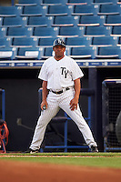 Tampa Yankees defensive coach Antonio Pacheco during a game against the Bradenton Marauders on April 11, 2016 at George M. Steinbrenner Field in Tampa, Florida.  Tampa defeated Bradenton 5-2.  (Mike Janes/Four Seam Images)