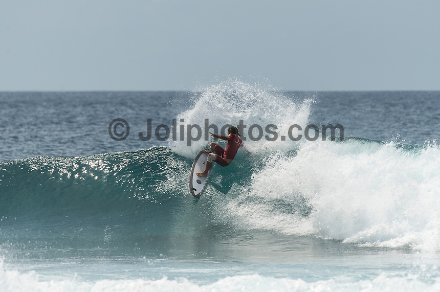 Four Seasons,Kuda Huraa, Maldives (Friday, August 7, 2015) David Rastovich (AUS). The worlds 'most luxurious surfing event,' the Four Seasons Maldives Surfing Champions Trophy continued today  at the famed 'Sultans Point' with the Thruster Round.The swell was out of the South East  with waves in the 4'-6' range.  Neco Padaratz (BRA) and Shane Dorian (HAW) fought out the tough final with Dorian scoring a perfect 10 point ride for a deep barrel and the win.  Photo: joliphotos.com
