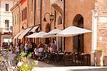 Cafe street scene in Ravenna, Italy.