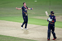 Adam Milne of Kent celebrates taking the wicket of Peter Siddle during Kent Spitfires vs Essex Eagles, Vitality Blast T20 Cricket at the St Lawrence Ground on 2nd August 2018