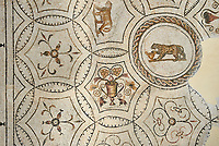 Picture of a Dionysiac Roman mosaics design depicting a lioness and a panther in front of a wine crater, from the ancient Roman city of Thysdrus. 3rd century AD. El Djem Archaeological Museum, El Djem, Tunisia.