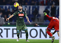 11th January 2020; Stadio Olympico, Rome, Italy; Serie A Football, Lazio versus Napoli;  Elseid Hysaj of Napoli tries to control the ball in the box as keeper Ospina in goal stumbles - Editorial Use