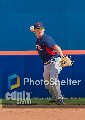 8 March 2015: Boston Red Sox infielder Brock Holt warms up prior to a Spring Training game against the New York Mets at Tradition Field in Port St. Lucie, Florida. The Mets fell to the Red Sox 6-3 in Grapefruit League play. Mandatory Credit: Ed Wolfstein Photo *** RAW (NEF) Image File Available ***