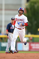 Buffalo Bisons outfielder Kevin Pillar (22) runs the bases after hitting a home run during a game against the Pawtucket Red Sox on August 23, 2014 at Coca-Cola Field in Buffalo, New  York.  Buffalo defeated Pawtucket 15-2.  (Mike Janes/Four Seam Images)