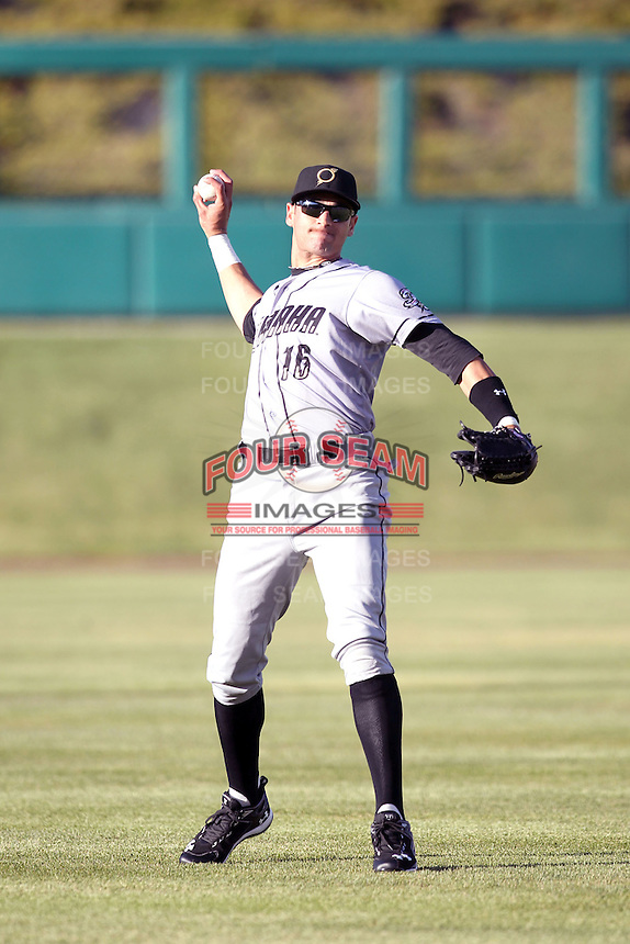 Paulo Orlando #16 of the Omaha Storm Chasers plays in a Pacific Coast League game against the Albuquerque Istotopes at Isotopes Park on May 3, 2011  in Albuquerque, New Mexico. .Photo by:  Bill Mitchell/Four Seam Images.