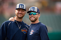 Brooklyn Cyclones pitcher Tylor Megill (36) and pitcher Tommy Wilson (9) before a game against the Tri-City ValleyCats on August 21, 2018 at Joseph L. Bruno Stadium in Troy, New York.  Tri-City defeated Brooklyn 5-2.  (Mike Janes/Four Seam Images)