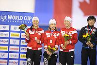 SPEEDSKATING: CALGARY: 14-11-2015, Olympic Oval, ISU World Cup, Podium Ladies Team Sprint, Hong Zhang, Jing Yu, Qishi Lee, Team CHN, ©foto Martin de Jong