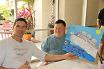 One Life To Live Austin Peck paints with Troy at the Painting Party on May 15, 2011 on Marco Island, Florida - SWSL Soapfest Charity Weekend May 14 & !5, 2011 benefitting several children's charities including the Eimerman Center providing educational & outreach services for children for autism. see www.autismspeaks.org. (Photo by Sue Coflin/Max Photos)
