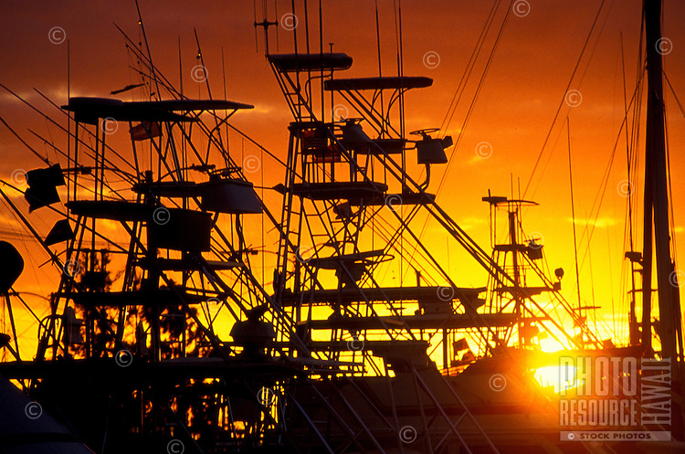 Large fishing boats at Honokahau Harbor on the Big Island of Hawaii are silhouetted by a golden sunset