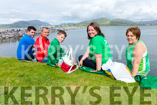 Enjoying the sun at the Valentia Regatta on Monday were l-r; Stephen O'Sullivan, Anthony Lynch, Darragh Lynch, Martina Moriarty & Mary Conway(Chairperson Cromane RC).