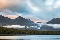 Dawn over Lake Manapouri and Monument, Fiordland National Park, UNESCO World Heritage Area, Southland, New Zealand, NZ