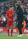 Philippe Coutinho of Liverpool talks to Jurgen Klopp manager of Liverpool during the Premier League match at the Anfield Stadium, Liverpool. Picture date: November 26th, 2016. Pic Simon Bellis/Sportimage