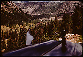 Elevated view of Vance Junction as seen over the hood of RGS Goose #5 from Keystone Hill.<br /> RGS  Keystone Hill, CO  Taken by Maxwell, John W. - 7/13/1946