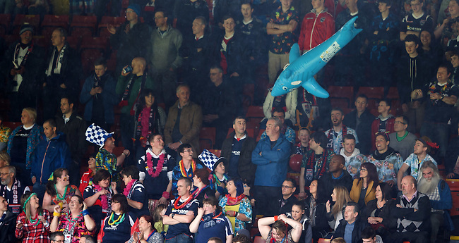 Ross County fans joining in the fun with at Partick as both teams are safe and enjoy a day out in fancy dress and a giant blow up shark