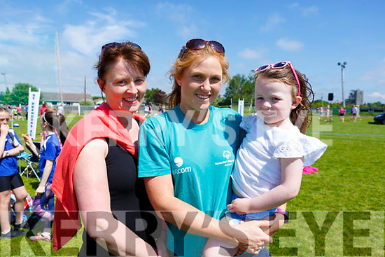Helen and Coimhe O'Driscoll and Laura Collins at the St. Brendan's A.C. Open Sports Day in Ardfert on Monday.