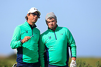 Neil Manchip (National Coach) and Caolan Rafferty from Ireland on the 2nd tee during Round 1 Singles of the Men's Home Internationals 2018 at Conwy Golf Club, Conwy, Wales on Wednesday 12th September 2018.<br /> Picture: Thos Caffrey / Golffile<br /> <br /> All photo usage must carry mandatory copyright credit (© Golffile | Thos Caffrey)