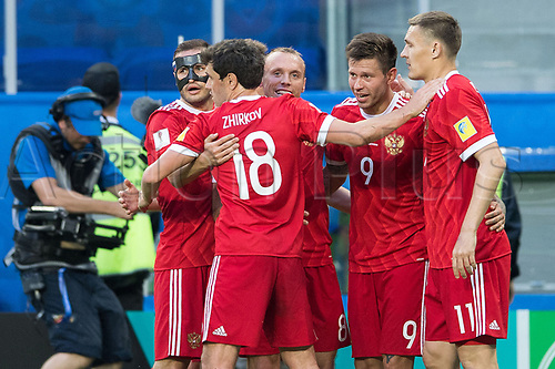 17th June 2017, St Petersburg, Russia; FIFA 2017 Confederations Cup football, Russia versus New Zealand; Group A - Saint Petersburg Stadium,  Russia's goalscorer Fedor Smolov and teammates Fedor Kudriashov, Yury Zhirkov, Denis Glushakov and Aleksandr Burharov celebrate the goal for 2:0 during the Confederations Cup Group A soccer match between Russia and New Zealand at the stadium in Saint Petersburg, Russia, 17 June 2017.