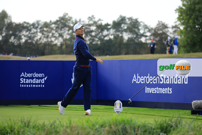 Justin Rose (Team Europe) at the Ryder Cup, Le Golf National, Paris, France. 27/09/2018.<br /> Picture Phil Inglis / Golffile.ie<br /> <br /> All photo usage must carry mandatory copyright credit (© Golffile   Phil Inglis)