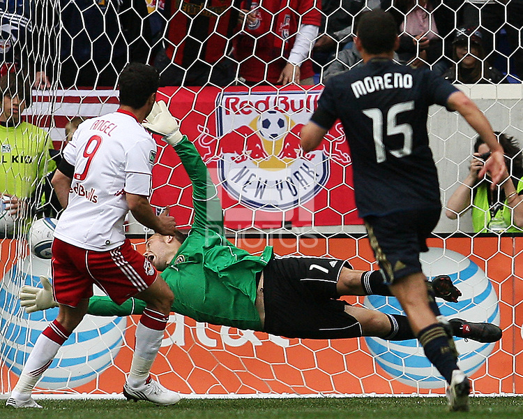Chris Seitz #1 of the Philadelphia Union can't get to a penalty shot goal from Juan Pablo Angel #9 of the New York RedBulls during a MLS  match on April 24 2010, at RedBull Arena, in Harrison, New Jersey. RedBulls won 2-1.