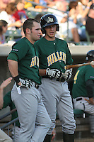 Lynchburg Hillcats center fielder Matt Lipka #2 (on left) speaking with shortstop Nick Ahmed #7 before a game against the Myrtle Beach Pelicans at Ticketreturn.com Field at Pelicans Park on May 24, 2012 in Myrtle Beach, South Carolina. Myrtle Beach defeated Lynchburg by the score of 8-6. (Robert Gurganus/Four Seam Images)