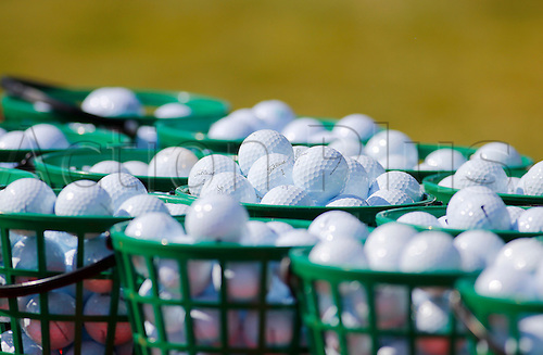 23.09.2016. Atlanta, Georgia, USA.  Buckets of practice balls on the practice range during the second round of the Tour Championship at the East Lake Golf Club in Atlanta, GA.