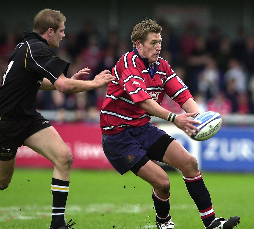 Photo Peter Spurrier.18/05/2002.Sport -Rugby Union- Zurich Championship Quarter final.Gloucester vs Newcastle.James Forrester..