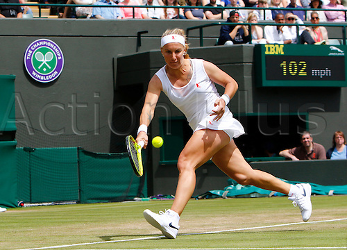 03.07.2016. All England Lawn Tennis and Croquet Club, London, England. The Wimbledon Tennis Championships Middle Sunday. Number 13 seed Svetlana Kuznetsova (RUS) hits a forehand during her singles match against number 18 seed Sloane Stephens (USA).