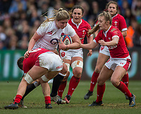England Women's Poppy Cleall in action during todays match<br /> <br /> Photographer Bob Bradford/CameraSport<br /> <br /> 2020 Women's Six Nations Championship - England v Wales - Saturday 7th March 2020 - The Stoop - London<br /> <br /> World Copyright © 2020 CameraSport. All rights reserved. 43 Linden Ave. Countesthorpe. Leicester. England. LE8 5PG - Tel: +44 (0) 116 277 4147 - admin@camerasport.com - www.camerasport.com