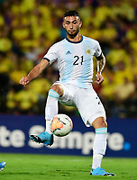 BUCARAMANGA – COLOMBIA, 03-02-2020: Valentin Castellanos de Argentina en acción durante partido entre Argentina U-23 y Uruguay U-23 por el cuadrangular final como parte del torneo CONMEBOL Preolímpico Colombia 2020 jugado en el estadio Alfonso Lopez en Bucaramanga, Colombia. / Valentin Castellanos of Argentina in action during the match between Argentina U-23 and Uruguay U-23 for for the final quadrangular as part of CONMEBOL Pre-Olympic Tournament Colombia 2020 played at Alfonso Lopez stadium in Bucaramanga, Colombia. Photo: VizzorImage / Julian Medina / Cont