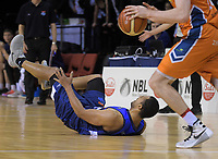 Mika Vukona goes down during the national basketball league semifinal match between Nelson Giants and Southland Sharks at TSB Bank Arena in Wellington, New Zealand on Saturday, 4 August 2018. Photo: Dave Lintott / lintottphoto.co.nz