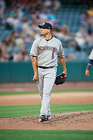 Javy Guerra (40) of the New Orleans Baby Cakes delivers a pitch to the plate against the Salt Lake Bees at Smith's Ballpark on June 8, 2018 in Salt Lake City, Utah. Salt Lake defeated New Orleans 4-0.  (Stephen Smith/Four Seam Images)
