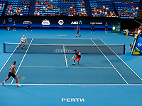 5th January 2020; RAC Arena, Perth, Western Australia; ATP Cup Australia, Perth, Day 3; Italy versus Norway; Casper Ruud of Norway plays a backhand volley against Italy in the doubles - Editorial Use