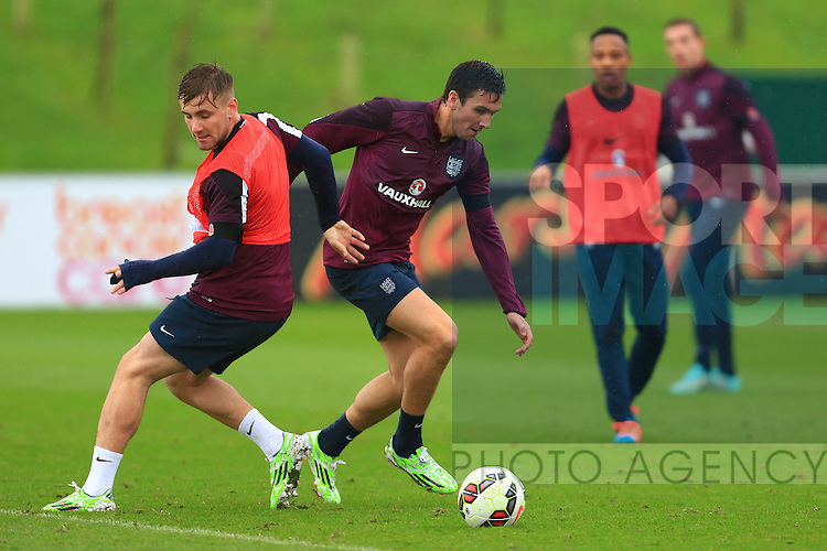 Luke Shaw and Stewart Downing of England in action - England Training & Press Conference - UEFA Euro 2016 Qualifying - St George's Park - Burton-upon-Trent - 11/11/2014 Pic Philip Oldham/Sportimage