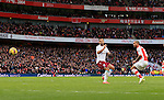 Arsenal's Theo Walcott scoring his sides third goal<br /> <br /> Barclays Premier League - Arsenal vs Aston Villa - Emirates Stadium  - England - 1st February 2015 - Picture David Klein/Sportimage