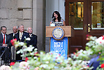 Yolanda Garcia, representing Senator Harry Reid, speaks at the USS Nevada Centennial of Launch ceremony at the Capitol, in Carson City, Nev., on Friday, July 11, 2014.<br /> Photo by Cathleen Allison