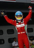 SEPANG, MALASIA, 25 DE MARCO 2012 - F1 - GP MALASIA - <br /> O piloto espanhol Fernando Alonso, da Ferrari, comemora vitoria durante o GP da Malásia, no circuito de Kuala Lumpur, em Sepang, neste domingo, 26. (FOTO: THOMAZ MELZER / PIXATHLON /  BRAZIL PHOTO PRESS).