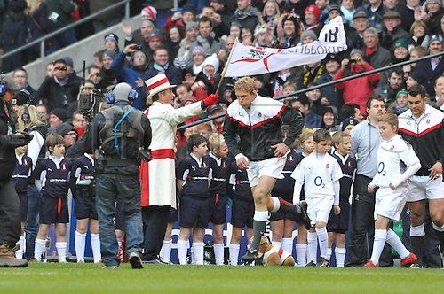 27.11.10 Lewis Moody flanker of Bath and captain of England leads out his team during the Investec rugby  International between England and South Africa at Twickenham Stadium London