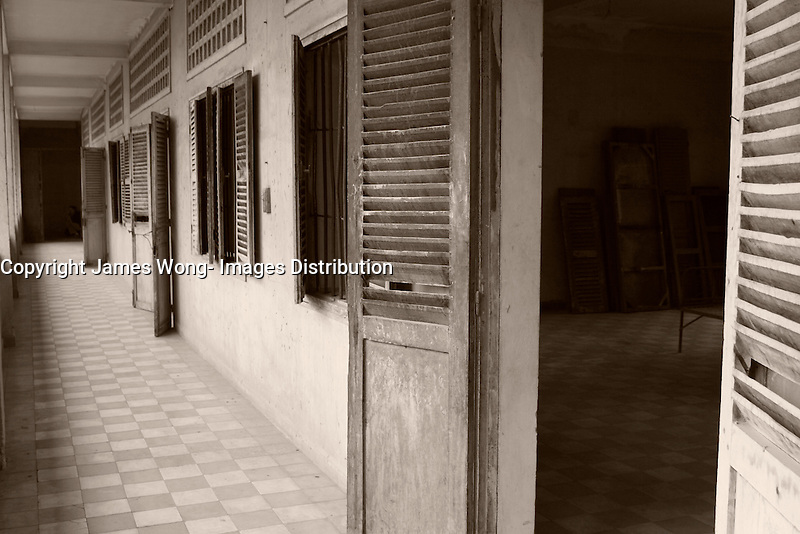 Phnom Penh,Cambodia - 2007 File Photo -<br /> <br /> torture rooms atTuol Sleng, former Khmer Rouge S-21 prison<br /> <br /> The Tuol Sleng Genocide Museum is a museum in Phnom Penh, capital of Cambodia. The site is a former high school which was used as the notorious Security Prison 21 (S-21) by the Khmer Rouge regime from its rise to power in 1975 to its fall in 1979. Tuol Sleng in Khmer means &quot;Hill of the Poisonous Trees&quot; or &quot;Strychnine Hill&quot;.<br /> <br /> photo : James Wong-  Images Distribution