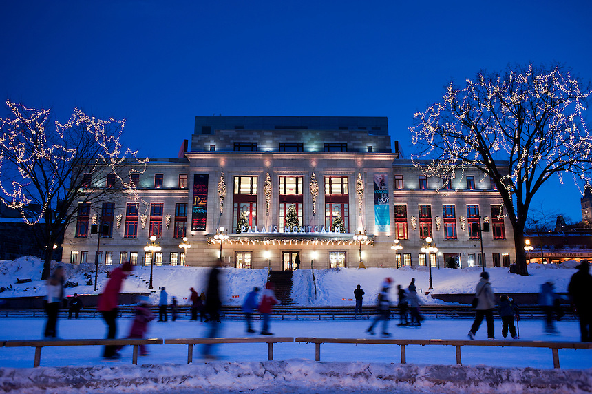 Ice skating at the Palais Montcalm. Winter Carnival in Quebec City, Canada