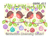 Kate, CHRISTMAS SYMBOLS, WEIHNACHTEN SYMBOLE, NAVIDAD SÍMBOLOS, paintings+++++Robins on branches 2,GBKM411,#xx# ,red robin