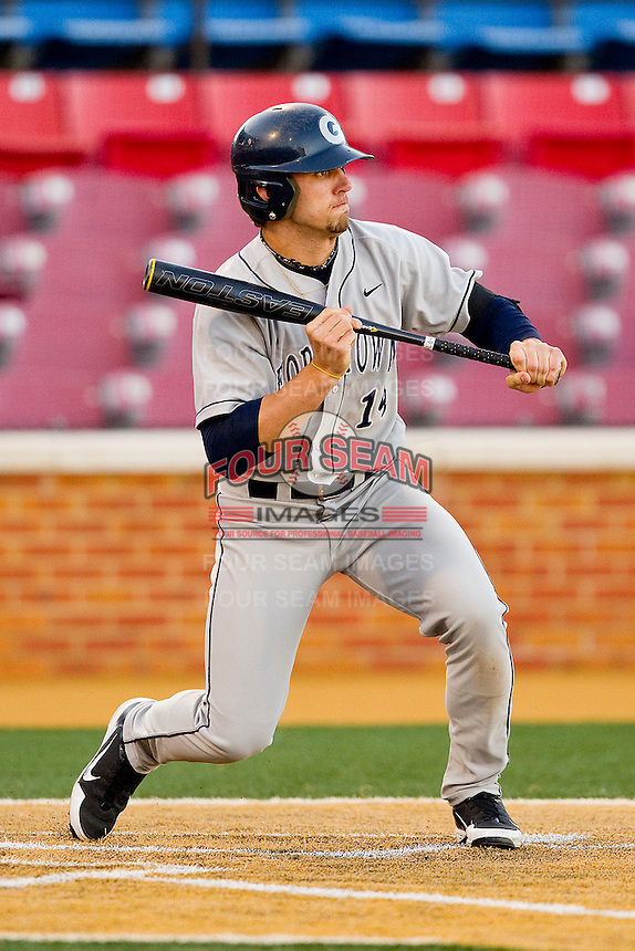 Justin Leeson #14 of the Georgetown Hoyas squares to bunt against the Wake Forest Demon Deacons at Wake Forest Baseball Park on February 26, 2012 in Winston-Salem, North Carolina.  The Demon Deacons defeated the Hoyas 5-2.  (Brian Westerholt / Four Seam Images)